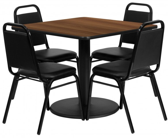 "36"" Square Walnut Table Set with 4 Black Trapezoidal Back Banquet Chairs"