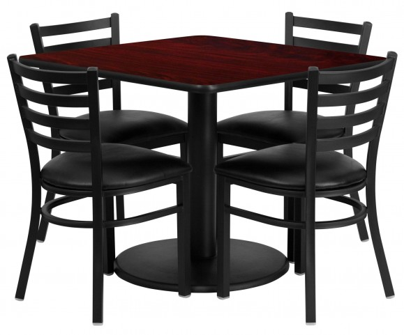 "36"" Square Mahogany Table Set with 4 Ladder Back Black Vinyl Chairs"