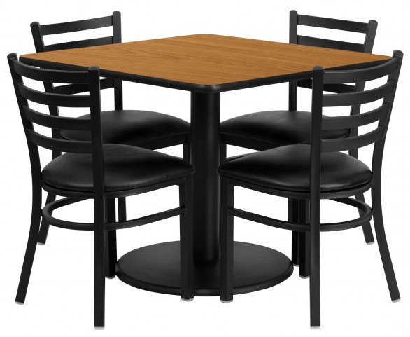 """36"""" Square Natural Table Set with 4 Ladder Back Black Vinyl Chairs"""