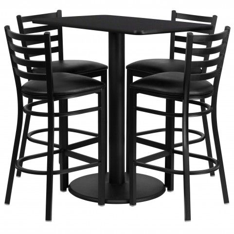 "24"" Rectangular Black Table Set with 4 Ladder Back Black Vinyl Bar Stools"