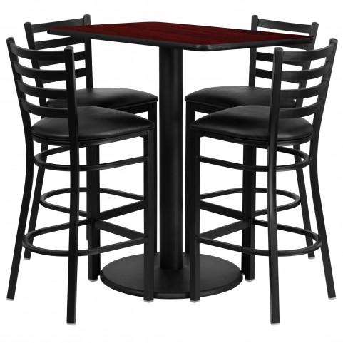"24"" Rectangular Mahogany 5 Piece Table Set with 4 Ladder Back Black Vinyl Bar Stools"