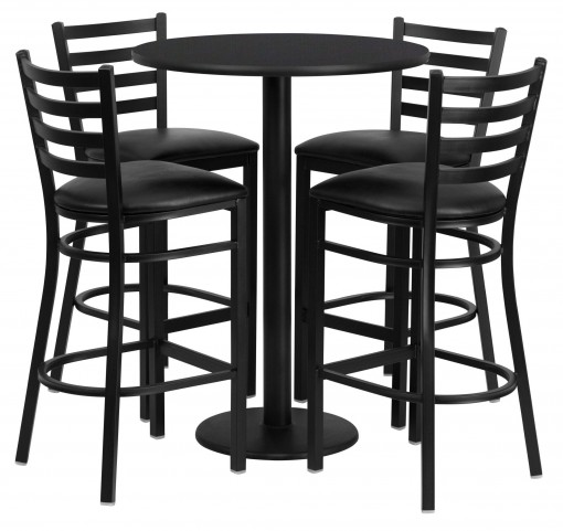"30"" Round Black Table Set with 4 Ladder Back Black Vinyl Bar Stools"