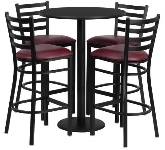 "30"" Round Black 5 Piece Table Set with 4 Ladder Back Burgundy Vinyl Bar Stools"