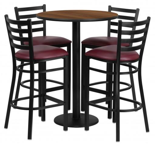 "30"" Round Walnut Table Set with 4 Ladder Back Burgundy Vinyl Bar Stools"