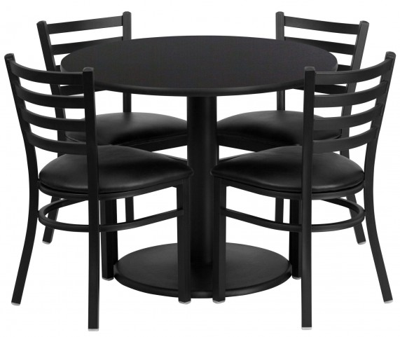 "36"" Round Black 5 Piece Table Set with 4 Ladder Back Metal Black Vinyl Chairs"