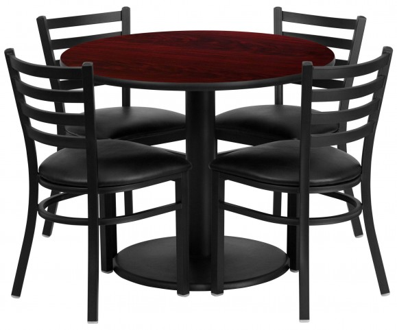 """36"""" Round Mahogany Table Set with 4 Ladder Back Black Vinyl Chairs"""