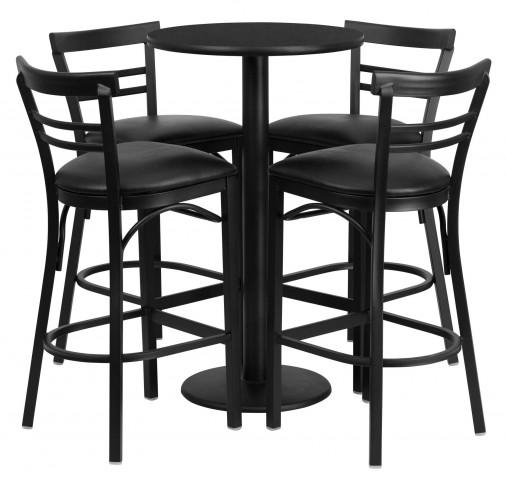 "24"" Round Black Table Set with 4 Ladder Back Black Vinyl Bar Stools"