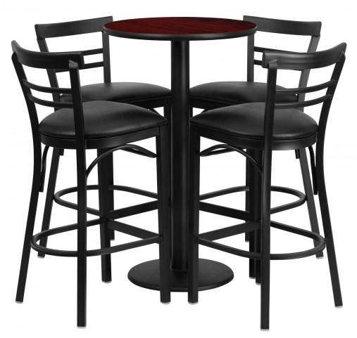 "24"" Round Mahogany Table Set with 4 Ladder Back Black Vinyl Bar Stools"