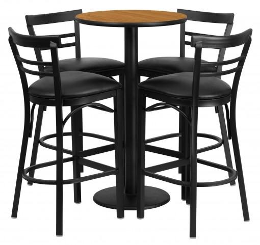 "24"" Round Natural Table Set with 4 Ladder Back Black Vinyl Bar Stools"
