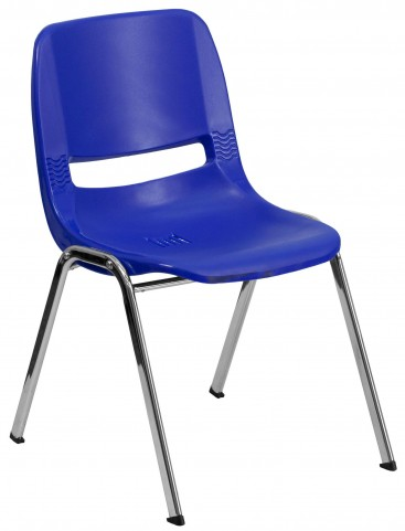 """Hercules Series Navy 24.5"""" Ergonomic Shell Stack Chair with Chrome Frame"""
