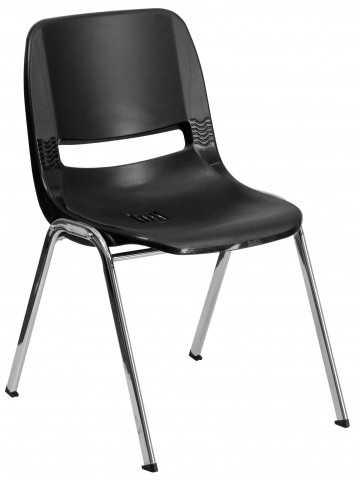 """Hercules Series Black 29"""" Ergonomic Shell Stack Chair with Chrome Frame"""