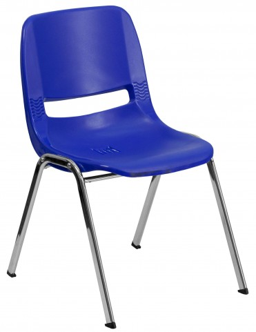 """Hercules Series Navy 32"""" Ergonomic Shell Stack Chair with Chrome Frame"""