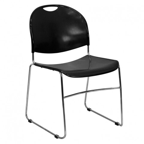 Hercules Black High Density Ultra Compact Stack Chair W/ Chrome Frame