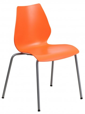 Hercules Series Orange Stack Chair with Lumbar Support and Silver Frame