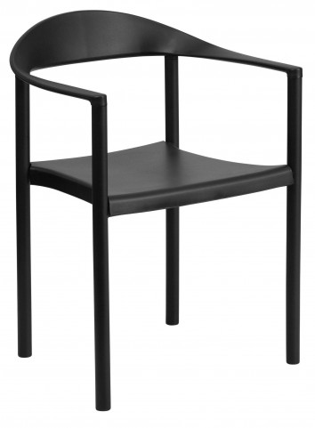 Hercules Series Black Plastic Cafe Stack Chair