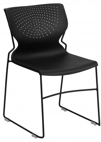 Hercules Series Black Full Back Stack Chair with Black Frame