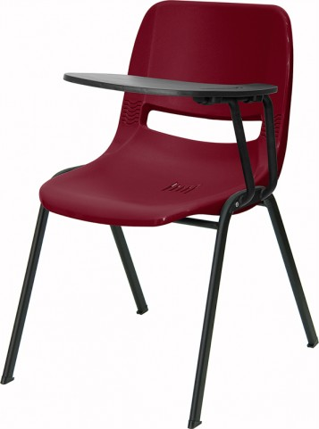Burgundy Shell Chair with Left Handed Tablet Arm