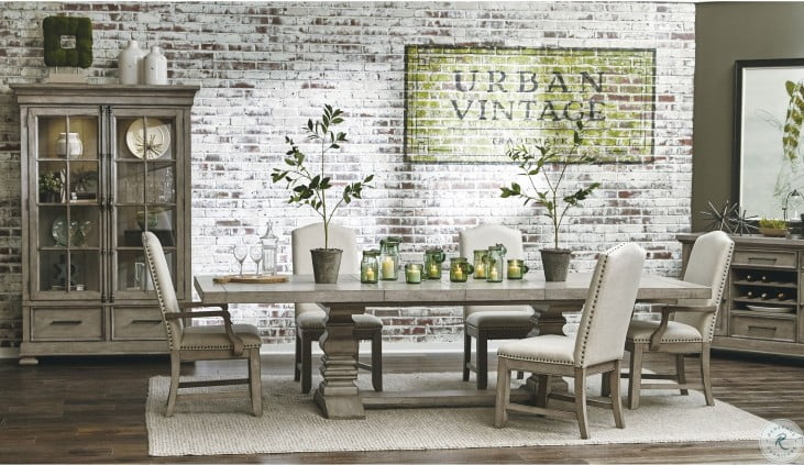 Prospect Hill Tan Rectangular Extendable Pedestal Dining Room Set