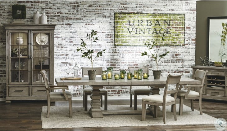 Prospect Hill Tan Rectangular Extendable Pedestal Dining Table