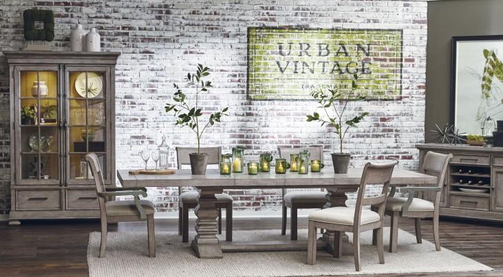 Prospect Hill Gray Rectangular Extendable Pedestal Dining Room Set