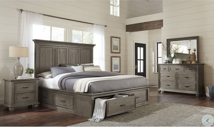 Chatham Park Grey Platform Storage Bedroom Set