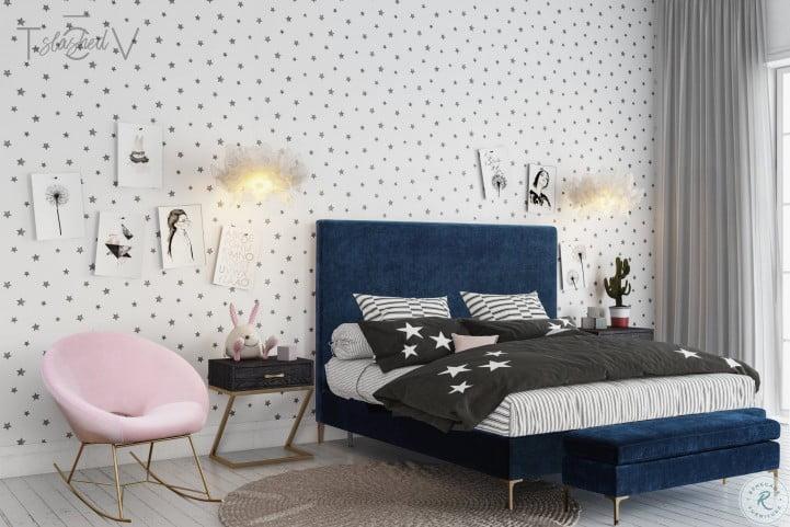 Delilah Navy Textured Velvet King Upholstered Platform Bed