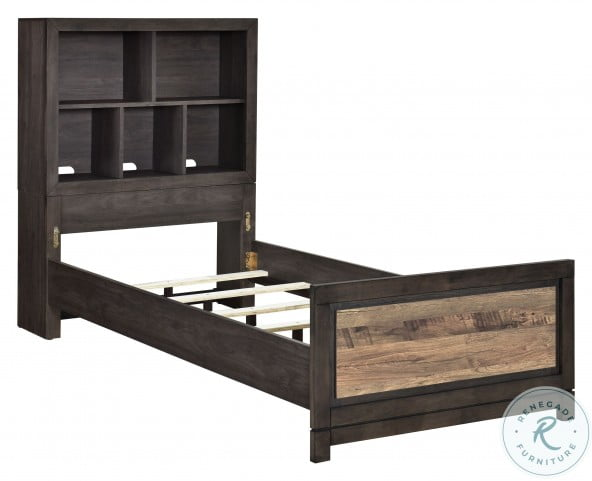 Harrison Brown Twin Bookcase Bed