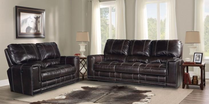 Salinger Sangria Dual Power Reclining Living Room Set