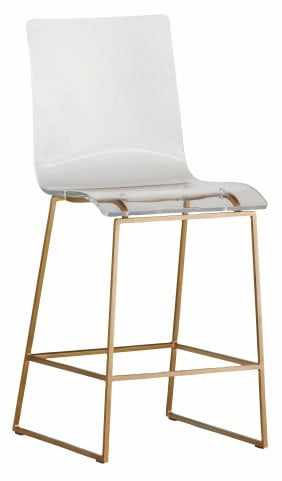King Acrylic And Gold Counter Stool