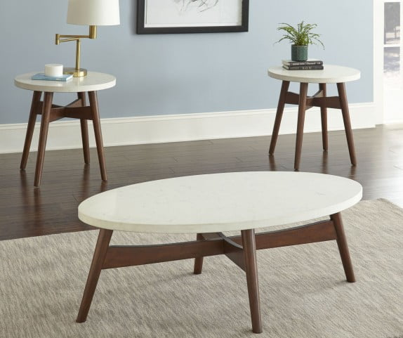 Serena White and Brown End Table