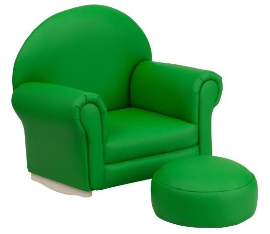 10001416 Kids Green Rocker Chair and Footrest