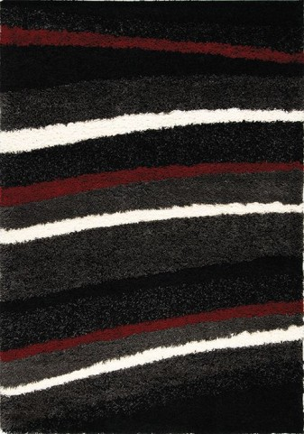 Shaggy Red and White Stripes Medium Rug