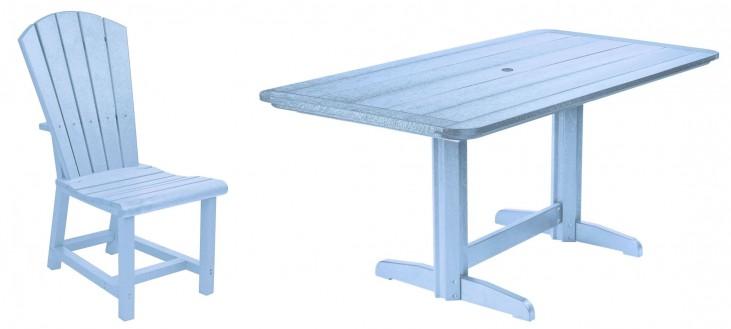"Generations Sky Blue 36"" Double Pedestal Dining Room Set"