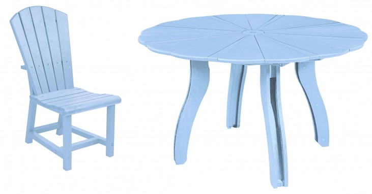 """Generations Sky Blue 52"""" Scalloped Round Dining Room Set"""