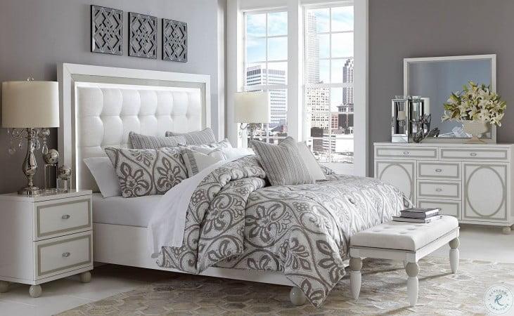 Sky Tower White Cloud Upholstered Platform Bedroom Set