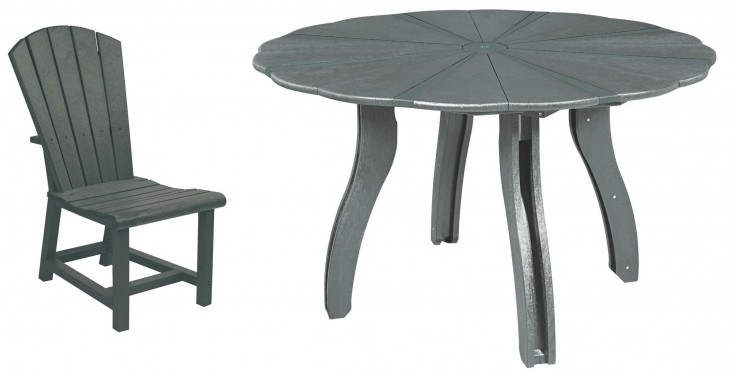 """Generations Slate 52"""" Scalloped Round Dining Room Set"""