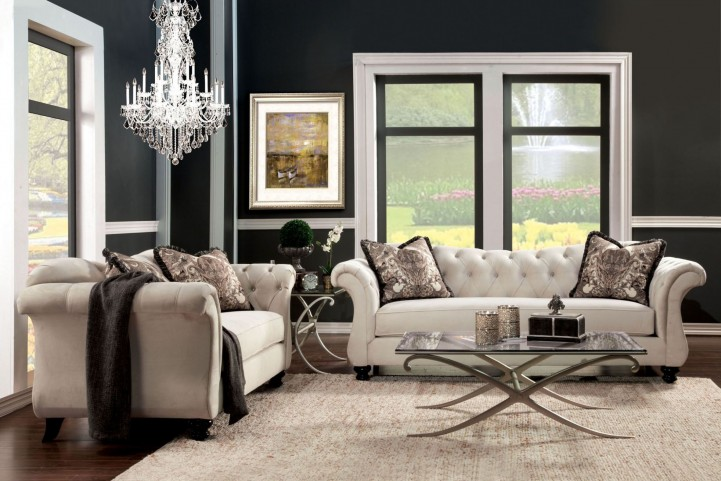 Antoinette Beige Premium Fabric Living Room Set
