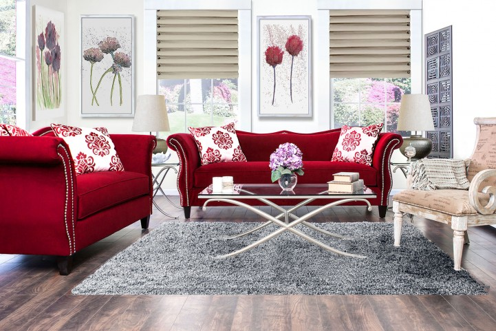 Zaffiro Ruby Red Living Room Set