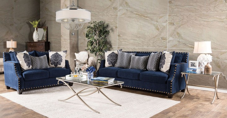 Cornelia Navy Living Room Set