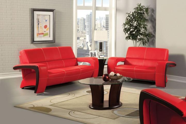 Enez Red Leatherette Living Room Set
