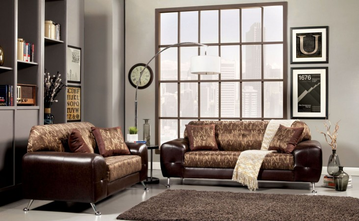 Avdira Gold Typographic Fabric Living Room Set