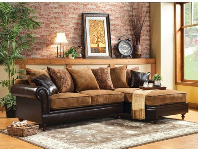 Gaspard Tan and Espresso Sectional