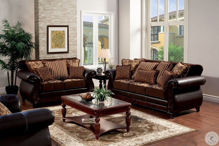 Franklin Dark Brown Fabric and Leatherette Loveseat