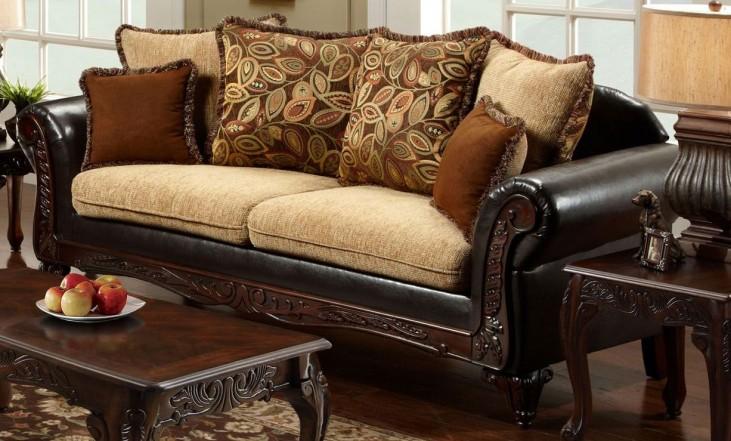 Doncaster Tan Fabric and Espresso Leatherette Sofa