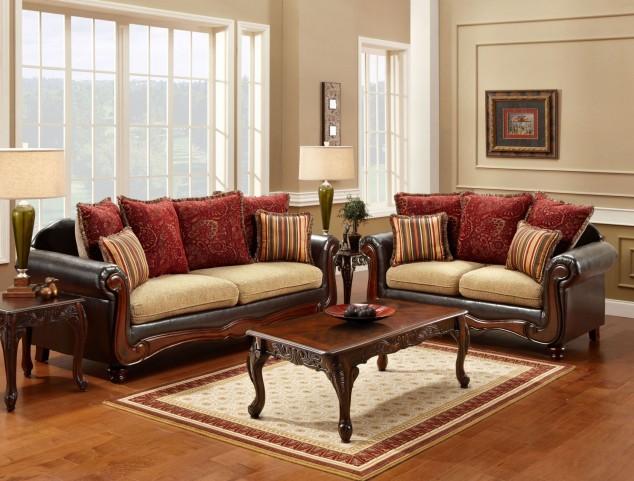 Banstead Tan and Espresso Living Room Set