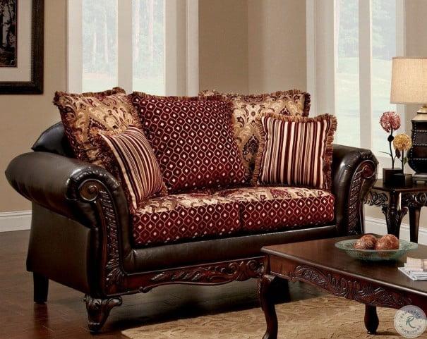 Ellis Brown and Burgundy Living Room Set