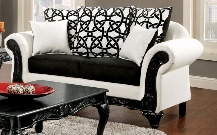 Dolphy Black and White Leatherette Loveseat