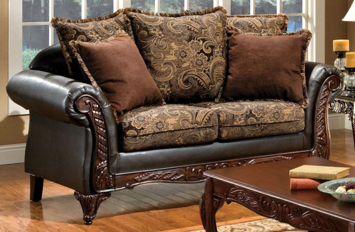 Rotherham Fabric and Leatherette Loveseat