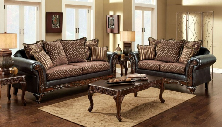 San Roque Fabric and Leatherette Living Room Set