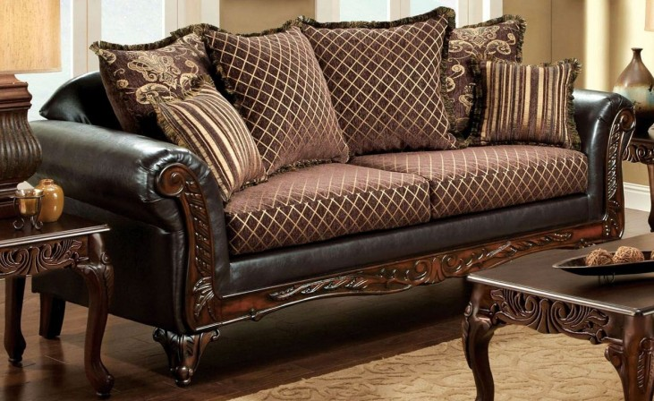 San Roque Fabric and Leatherette Sofa